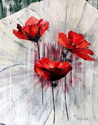 "Red Flower Art Painting ""Three Sisters"" by Mary Arneson Art-Works of Whimsy"