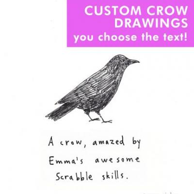 Custom crow drawings