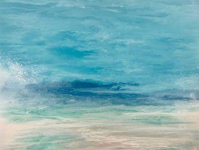 "Contemporary Beach Art, Abstract Seascape Painting, Coastal Art , Fine Art For Sale ""Sea Spray"" Skillern's Seas Series by International Contemporary Landscape Artist Kimberly Conrad"