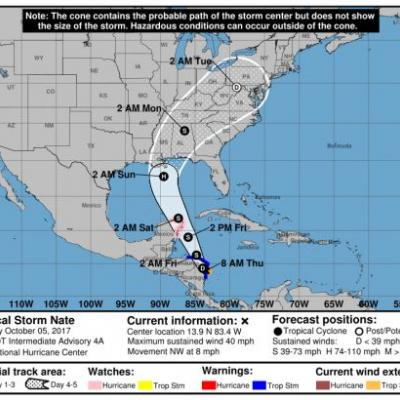 Tropical Storm Nate could hit the Gulf Coast as a hurricane this weekend