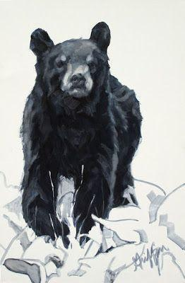 "Contemporary Wildlife Art, Bear Cub, Fine Art Oil Painting ""Yearling"" by Western Masters Artist Patricia A. Griffin"