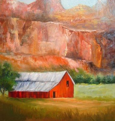 Mountains and Red Barn,oils canvas,Barbara Haviland,Landscape Artist