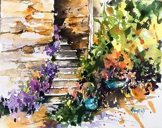 Saint Cirq Lapopie Stairwell..watercolor.Texas Artist..Rae Andrews