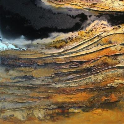 "Geologic Petroleum Abstract Painting, ""Mineral Rights 2"" by Mixed Media Artist Carol Nelson Fine Art"