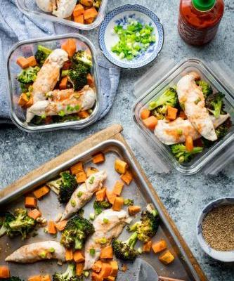 Sheet pan chicken and broccoli supper with honey sriracha sauce