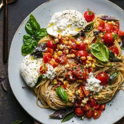 Bruschetta Pasta with Burrata