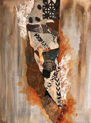 """Abstract Art, Contemporary Painting, Collage,""""WESTERN BROWNS AND A MESSAGE"""" by Florida Contemporary Artist Mary Ann Ziegler"""