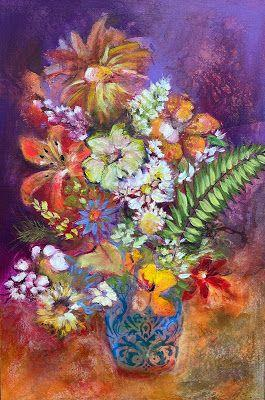 """Contemporary Floral Painting, Still Life, Fine Art For Sale """"THE AUDACITY OF SPRING"""
