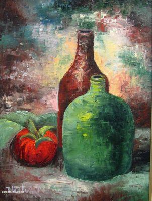 Still Life, Kyle's Jugs,and a Tomato oil painting,original, Canvas, Barbara Haviland Texas Contemporary Artist