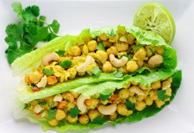 Curry Chickpea Lettuce Wraps