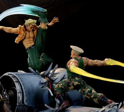 These slick statues of Guile and Nash might not be affordable for family men