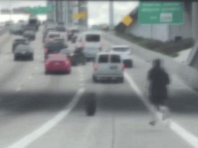 This Guy Chasing After Tire on Freeway Is Really Setting the Tone For 2019