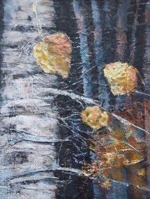 """Aspen Trees,Mixed Media Landscape, Contemporary Abstract Art """"Stately"""" by Contemporary Artist Gerri Calpin"""