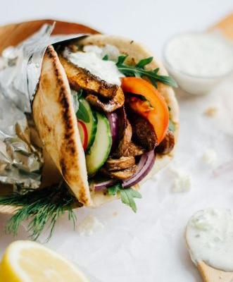 Portobello Gyros with Feta Tzatziki