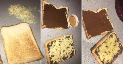 A girl has grossed out the internet by covering her toast with chocolate spread and cheese