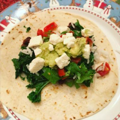 Beans and Greens Burrito with Lime and Chile