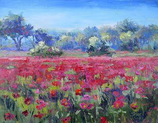 Poppy Fields Forever, New Contemporary Landscape Painting by Sheri Jones
