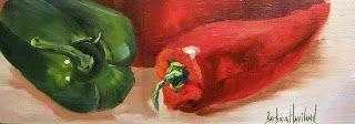 Red and Green Peppers, still life, oils on canvas, Barbara Haviland