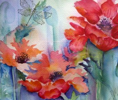 "Original Watercolor Floral Paintings, ""Poppies"", by Colorado Artist, Donna L. Martin"