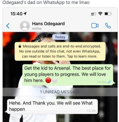 Arsenal fan claims to be having transfer chat with Martin Odegaard's Dad on WhatsApp