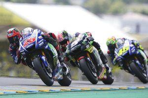 Vinales wins thrilling French MotoGP as Rossi comes off bike