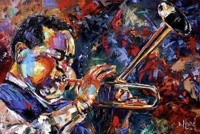 "Abstract Jazz Painting Music Art Paintings ""Dizzy Gillespie"" By Debra Hurd"