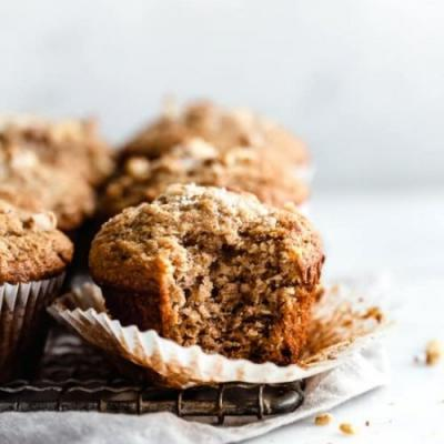 Healthy and easy banana nut muffins