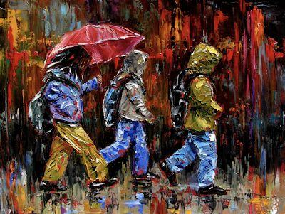Rainy City Painting, Children, Figurative, Rain, Umbrella