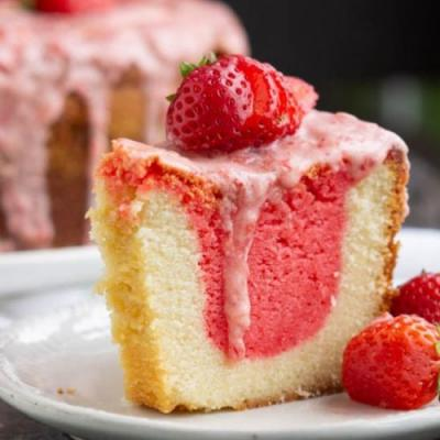 Strawberries Cream Pound Cake