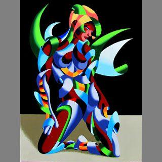 Mark Webster - Adrina 3201 - Abstract Geometric Futurist Figurative Oil Painting