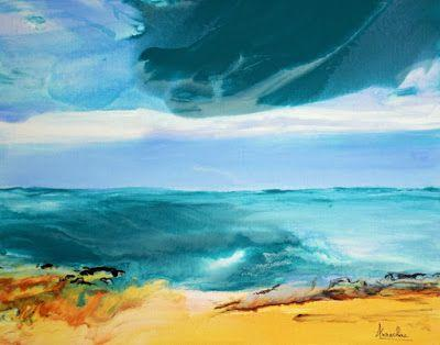 """Fluid Contemporary Landscape Painting """"Whispering Waves"""" by Contemporary International Artist Arrachme"""