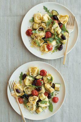 Cheese Tortellini with Roasted Vegetables and Arugula