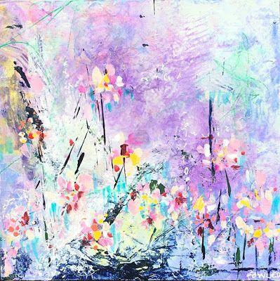 "Holiday Sale,Flower Art,Colorful Contemporary Abstract Expressionist Fine Art Painting ""BUBBLES"
