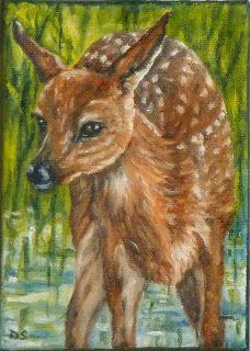 Spring Fawn Oil Painting Animals Portraits Deer Fawn Wildlife Art