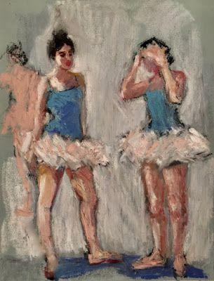 Ballerina Conversation - original oil pastel figurative sk