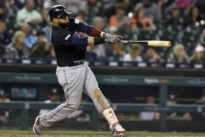 Bauers hits for the cycle, leads Indians past Tigers 13-4