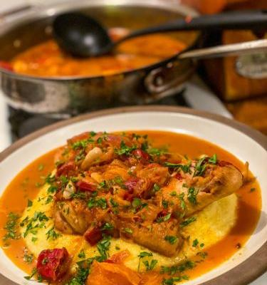 One Chicken, Three Meals: Braised Chicken Over Polenta, Chicken Cabbage Salad, and Tomato Pasta with Chicken Jus