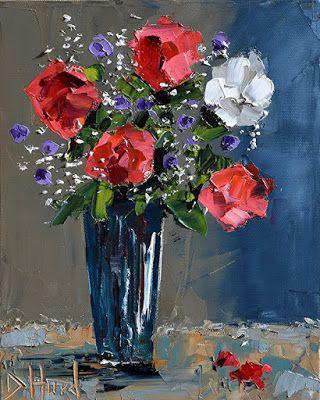 """Still Life Oil Painting,Floral Painting,Palette Knife""""Special Day"""" by Debra Hurd"""