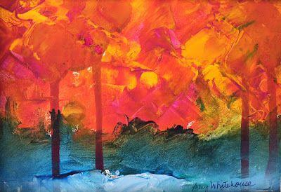 """Contemporary Abstract Landscape, """"Fall Trees,"""" by Amy Whitehouse"""