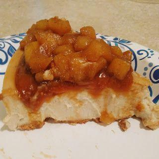 Cashew-coconut non-dairy cheesecake with sauteed apples and vegan caramel in a maple-oat crust