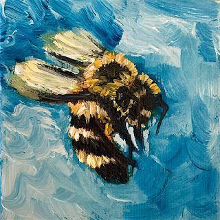 SOLD, Busy Bee, Melissa A. Torres, 3x3 oil on canvas
