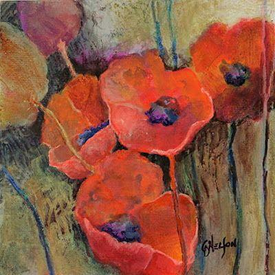 "Contemporary Botanical Painting, Poppy, Flowers, Poppies, ""SIMPATICO II"" by International Mixed Media Abstract Artist Carol Nelson"