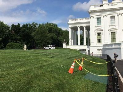 White House lawn under construction after sinkhole appears