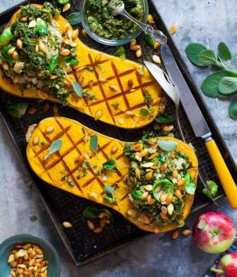 Grains and Greens-Stuffed Squash with Herb Salsa