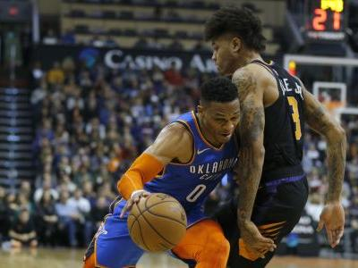 Westbrook scores 40, Thunder pull away to beat Suns