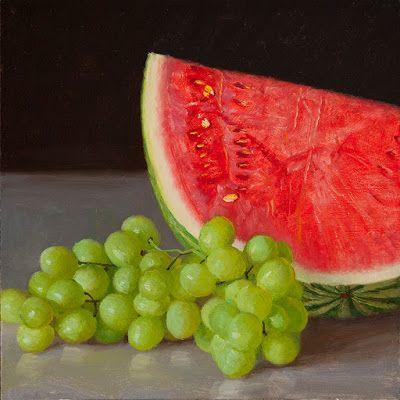 Grapes and watermelon original painting still life daily painting a painting a day