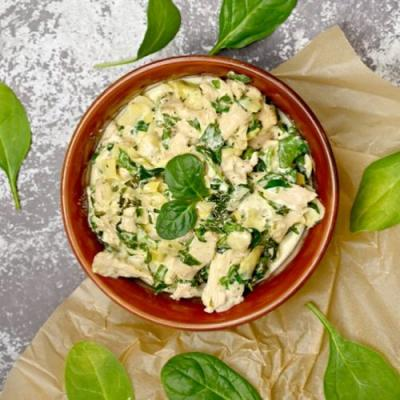 Keto Spinach Artichoke Chicken Bowl