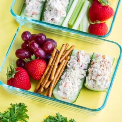 Tuna Salad Cucumber Boats