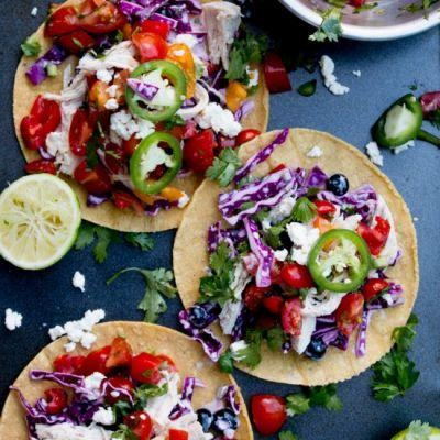 Red White and Blue Chicken Tacos