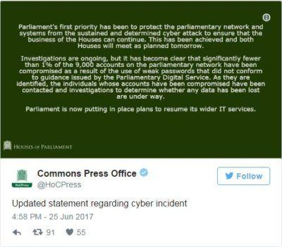 UK parliament hit by cyber attack targeting MPs email accounts